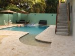 Our new pool private entrance from guesthouse