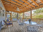 Regardless of the weather, the screened-in porch provides a fantastic spot to gather and relax.