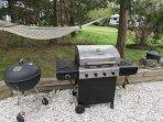 3 grills. Propane, charcoal and small smoker