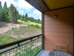 Private balcony with peek-a-boo views of the ski slopes/hiking trails