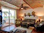 Living area on main floor with an ocean view balcony