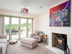Lovely living room, with a roaring log burner
