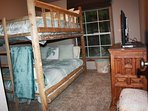Second bedroom with Queen bed under extra long full bed--Bunk Bed