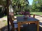 giardino curatissimo, per pranzi all'aperto tra gli ulivi secolari