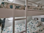 New built-in bunk beds and brand new comfortable mattresses.