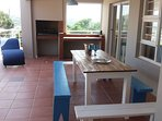 Spacious covered veranda with built in barbeque