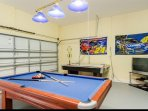 Game Room with Pool table, Air Hockey, Wii and bar stools.