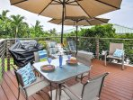 Have an afternoon barbecue at this shared sun deck with gas grill.