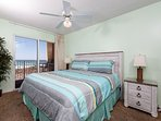 The luxury continues into the master bedroom with its king size bed, balcony access and flat screen HDTV.