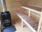 Wooden heated sauna seats more than 4 adults. One hour of heating only before you can take sauna.