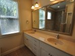 Master Suite %352 bathroom. Please do not use tub during drought. Marina Beach Lakefront Chateau.
