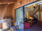 Your balcony with a propane barbecue and seating.