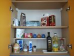 In the kitchen: tea, coffee, basic spices...