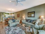Sink into the plush couches and arm chairs while watching a movie on the flat-screen cable TV.