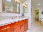 Elegant 'spa inspired' master bathroom with separate over-sized tub, large shower and walk-in closet