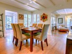 Separate Dining Room with seating for six with views to the tropical front garden