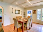 Enjoy family meals in a separate dining room, with handcrafted dinnerware and easy kitchen access