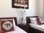 Elephant cushions in the twin bedroom