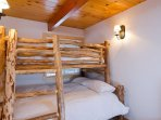 Guest room with custom made bunk bed. Queen + Twin