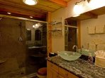Spa bathroom with 3 shower heads!