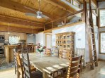 Open concept living/dining means that everyone can spend time together. Loft includes a futon!