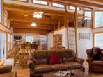 Beautiful leather furniture and open layout make the upstairs perfect for entertaining