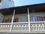 The balcony runs the length of the apartment