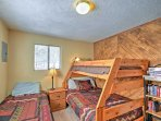 Kids will love hunkering down in the bunk bed or in the full-sized bed and telling each other ghost stories.