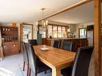 open plan dining with views out to Coronet Peak ski field