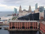 View of Liverpool waterfront from Liverpool Wheel. The apartment is beyond the Liver Buildings.
