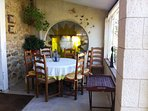 Patio dining table and 8 chairs