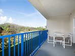 Enjoy the Florida sunsets from the private balcony with plenty of room to relax.