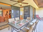 Dine alfresco and enjoy a cool ocean breeze on this private lanai.