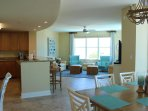 View of great room with beautifully appointed kitchen, stainless appliances and desk area.