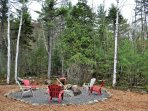 Fire Pit with Adirondack Chairs to enjoy camp fire:)