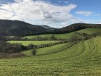 The stunning landscape of the Linley Valley a designated Area of Outstanding Natural Beauty.