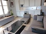 Living area / modern fully equipped kitchen