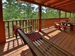 Bench Swing and Picnic Table on Porch