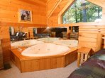 Two Person Heart Shaped Jacuzzi Tub in Loft Bedroom