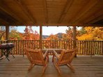 Private Back Deck with Rocking Chairs and Charcoal Grill