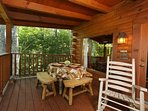 Back Deck with Rocking Chairs and Outdoor Dining