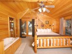 Bedroom in Open Loft with King Bed and Large Jacuzzi Tub