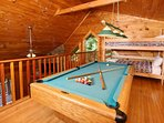 Pool Table and Bunk Bed in Loft