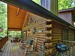 Private Deck with Rocking Chairs, Picnic Table, and Grill