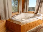 Jacuzzi Tub Overlooks Mountain Views
