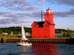 Visit Big Red at the Holland Harbor, 1 mile from the Farmhouse Cottage
