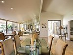 Gather around the formal dining table to enjoy your meals.