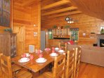 Dining for 8 as well as a great place to enjoy some of the cabins board games.