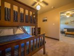 The kids will love the bunk beds!  Top is a single (sleeps 1) and the bottom is a full (sleeps 2).