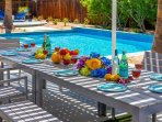 Covered Poolside Dining at Club Retro in the Sun